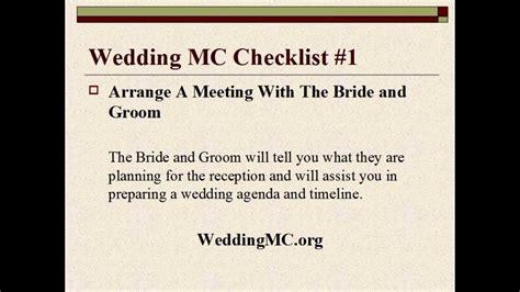 wedding mc checklist template wedding mc wedding mc checklist