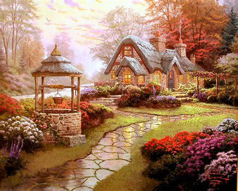 kinkade cottage painting make a wish cottage by kinkade 20x24 artist proof a