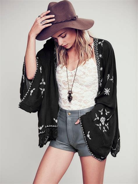 N1 Midea Blouse Black Crepe Import free embroidered kimono jacket 128 00 fp picks