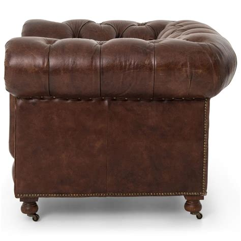 rustic leather armchair ace rustic lodge tufted brown leather casters armchair