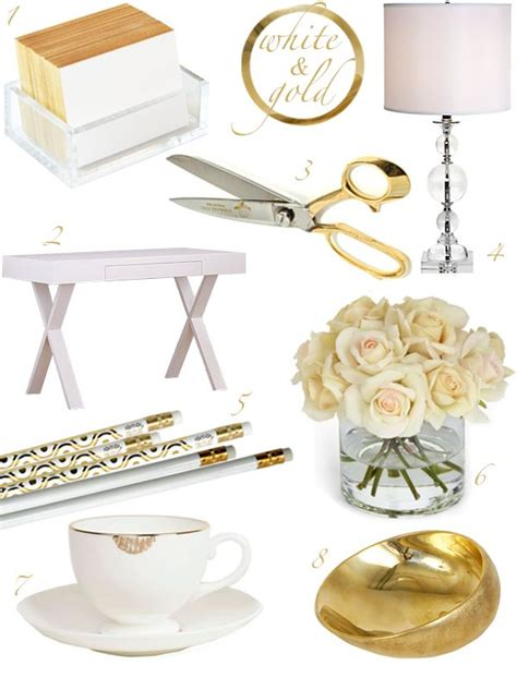 Gold Desk Accessories White Gold Office Home Office Craft Room Storage Pinterest