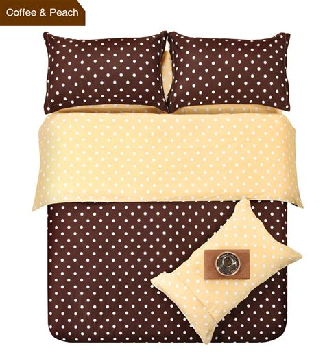 Patchwork Duvet Cover King Size - colors coffee and patchwork polka dot 4pcs