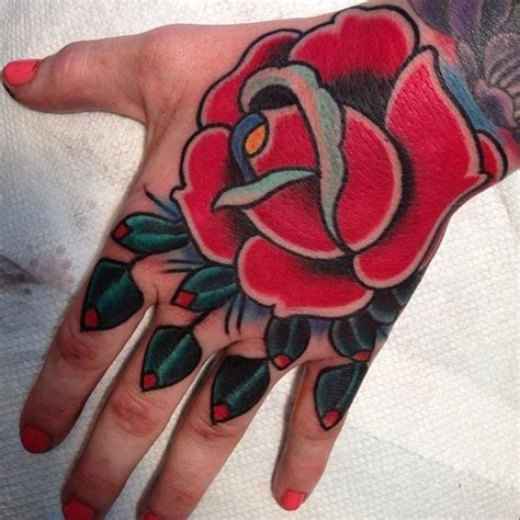 tattoo hand old school hand tattoo with old school rose