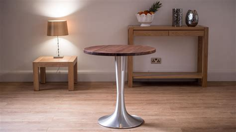 Small Walnut Dining Table Solid Walnut Dining Table For 2 Brushed Aluminium Flute Pedestal