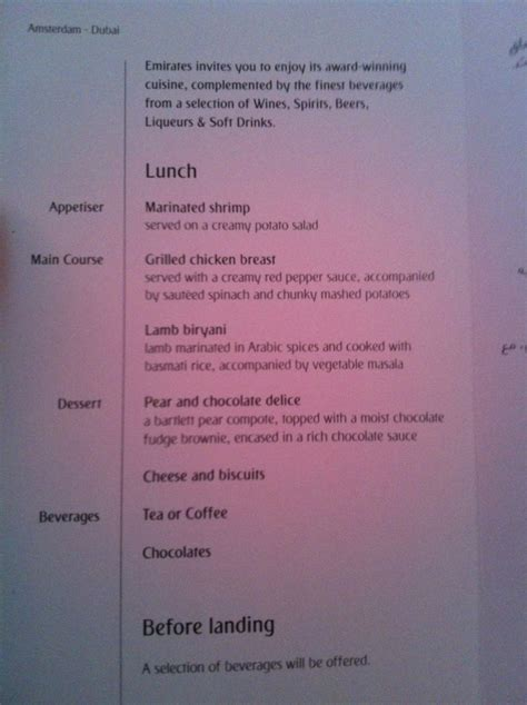 emirates menu flying the a380 with emirates