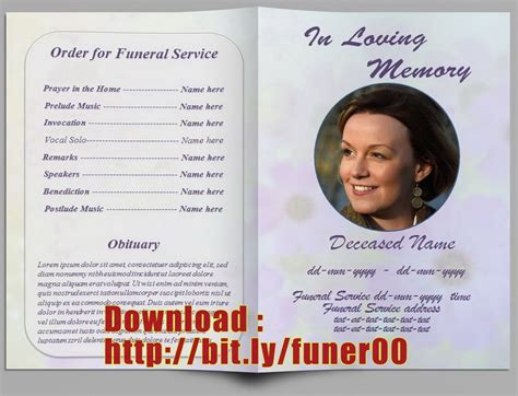 funeral programs templates free free editable memorial service program template http