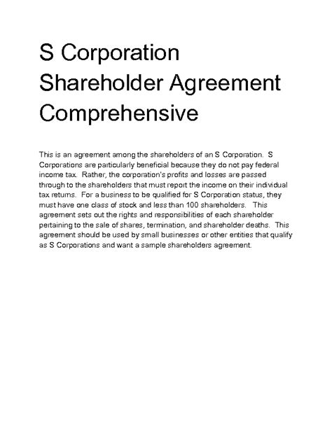 Welcome To Docs 4 Sale S Corporation Shareholders Agreement Template