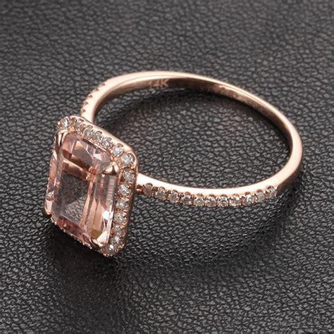 emerald cut morganite engagement ring pave halo