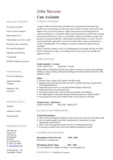 cv template care assistant healthcare assistant cv sle clinical resume cv