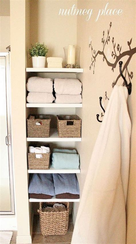Built In Shelves In Bathroom Installing Built In Bathroom Shelves Tree Wall Decor Towels And Built Ins
