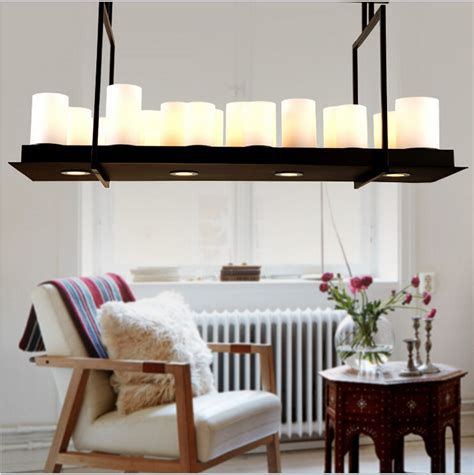 Country Dining Room Lighting Vintage Kevin Reilly Altar Country Style Candle Led Pendant Light Iron Glass Creative
