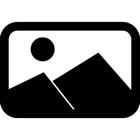 Landscape Icon Landscape With Grey Mountains In A Rounded Rectangular