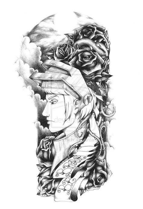 half sleeve tattoo designs black and grey sleeve black and grey by blackmonchichi
