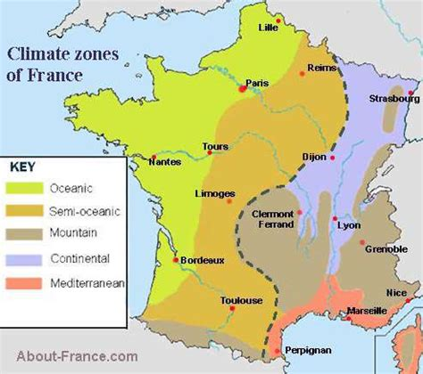 What Is Rainfall Pattern In French | climate map of france about france com