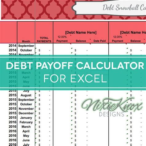 Credit Card Debt Payoff Formula Debt Payoff Calculator For Excel Track Your Interest Rates Payments And Total Debt For Your