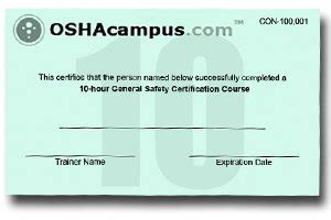Osha 10 Certification Best Template Idea Osha 10 Card Template