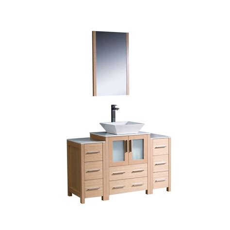 Oak Vanity Light Fresca Torino 48 In Vanity In Light Oak With Glass Vanity Top In White With White Basin