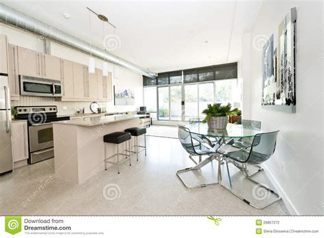 Kitchen Island With 4 Stools modern condo kitchen dining and living room stock