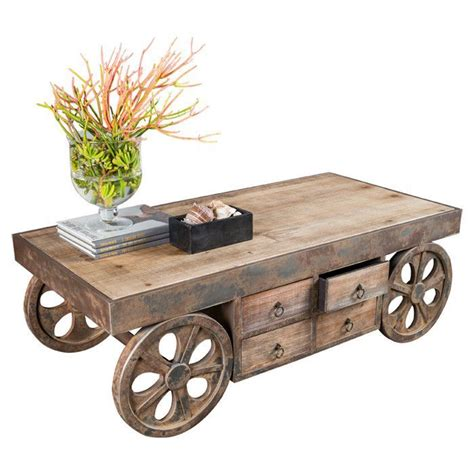 Rustic Coffee Table On Wheels Wood Table Legno Design