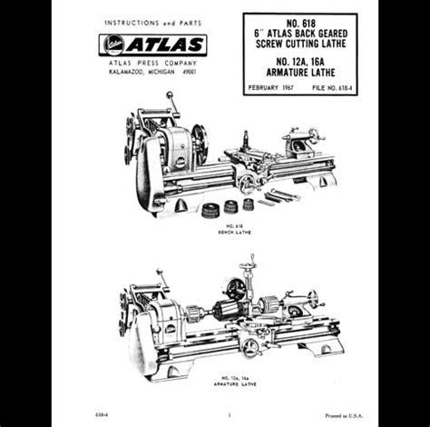 atlas lathe parts diagram atlas 6 inch no 618 lathe manual parts