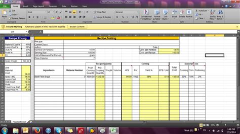 Bakery Inventory Spreadsheet by Bakery Costing Spreadsheet Laobingkaisuo