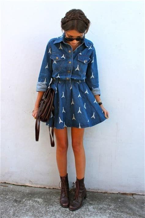 Dress Eiffel Pict Mini Dress dress blue dress denim denim dress pretty