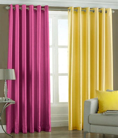 pink and yellow curtains pindia plain eyelet curtains 8ft set of 2 pink yellow