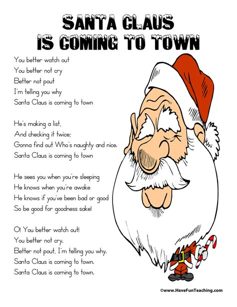 printable lyrics for santa claus is coming to town christmas lyrics have fun teaching
