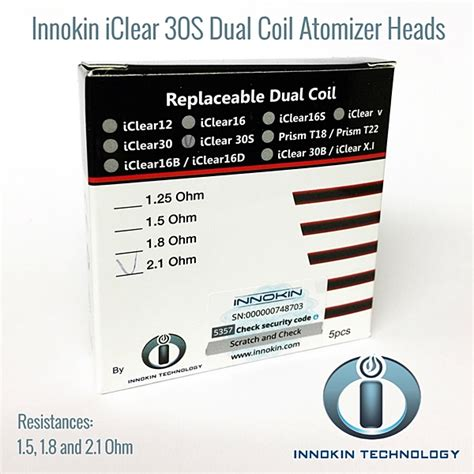 Innokin Iclear 12 Replacement Dual Coil 1 8 Ohm Silver 6e228t innokin iclear 30s dual coil atomizer heads vapors