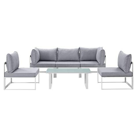 Sofa Fortuna fortuna 6 pieces outdoor patio sofa set gray cushion