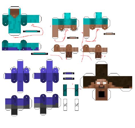 Pixel Papercraft Steve - papercraft steve and herobrine bendable