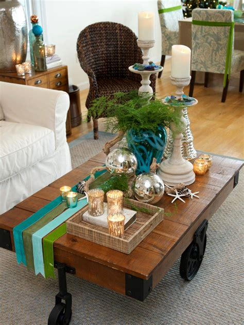 decorating coffee table for christmas ponterest coastal and cottage style decorations diy