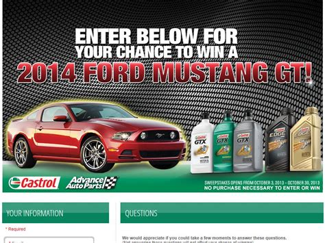 Advance Auto Sweepstakes - castrol advance auto parts ford mustang gt sweepstakes