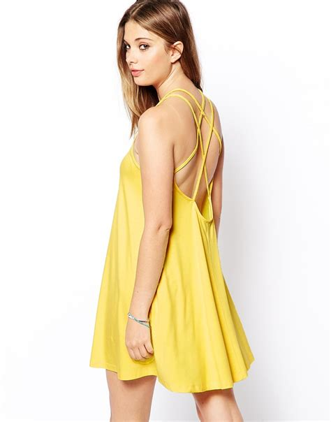 cami swing dress asos exclusive cami swing dress with strappy back in