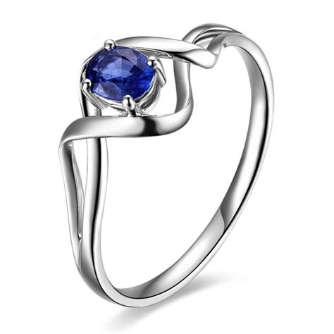 solitaire sapphire engagement ring   white gold