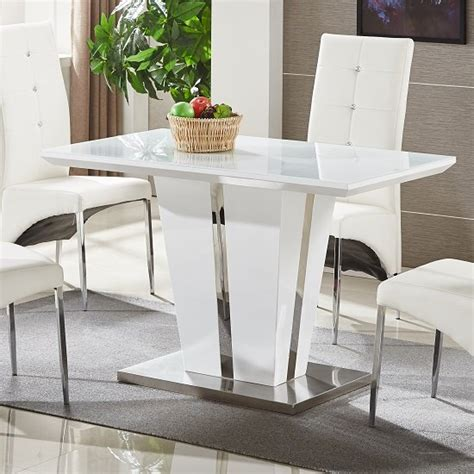 memphis glass dining table small  white gloss  chrome