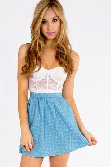 skirt white light blue tobi crop tops polka