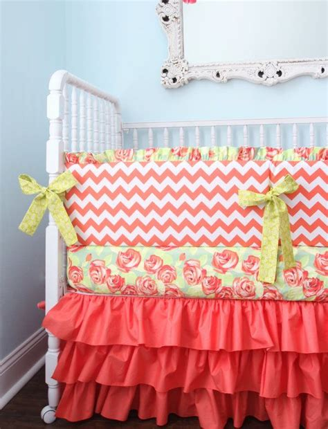 Coral Chevron Crib Bedding 46 Best Crib Bedding Images On Babies Rooms Baby Room And Baby Cribs