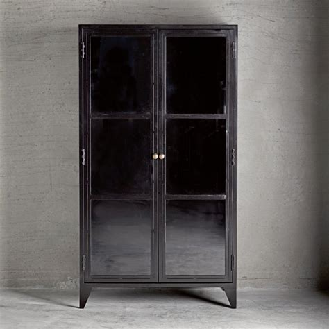 Metal Cabinet W Shelves And Glass Doors Black Products