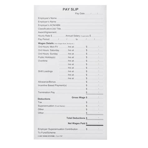 nsw payslip template zions pay slip pad coast to coast school supplies