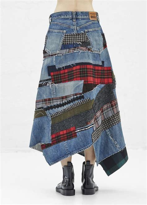 Junya Watanabe Patchwork - junya watanabe denim midi skirt indigo patchwork denim