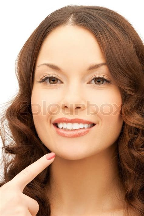 beauty smaller chins in women face of beautiful woman touching her chin stock photo