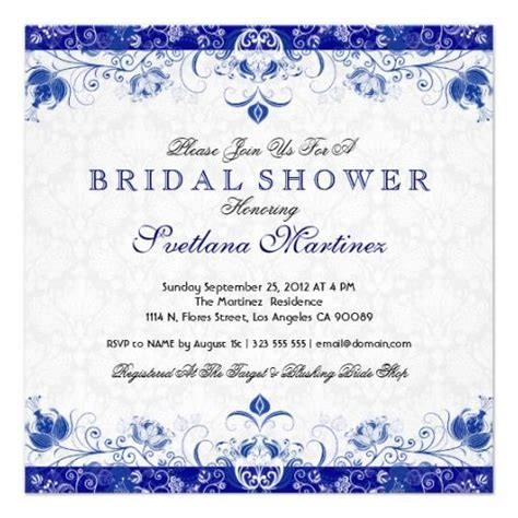 Wedding Shower Invitations Cheap by Royal Blue White Damask Bridal Shower Invitation White