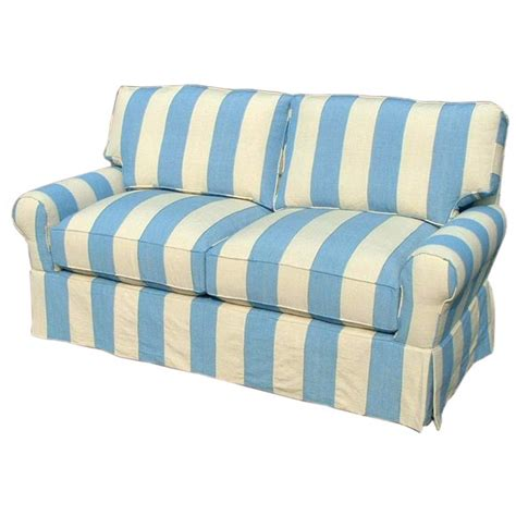 cr blue striped sofa