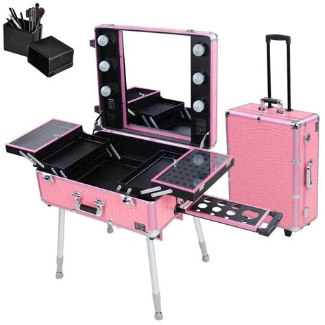 rolling studio makeup artist cosmetic case w light leg