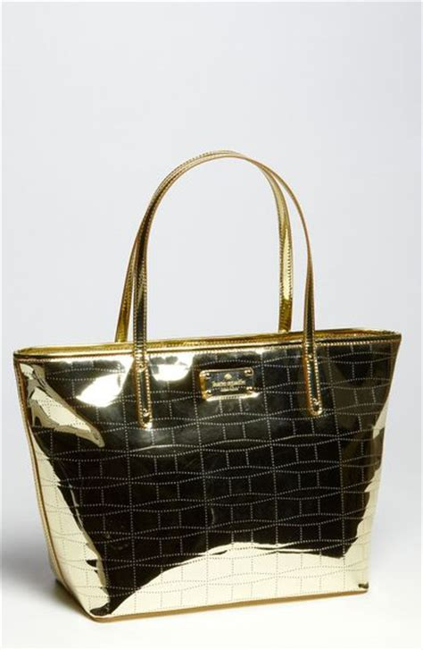 Kate Spade Kate Spade Basel Coal Bag by Kate Spade Signature Spade Small Coal Metallic Tote In