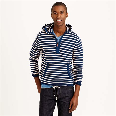 Hoodie Stripe Sweater by Lyst J Crew Striped Cotton Sweater Hoodie In Blue For
