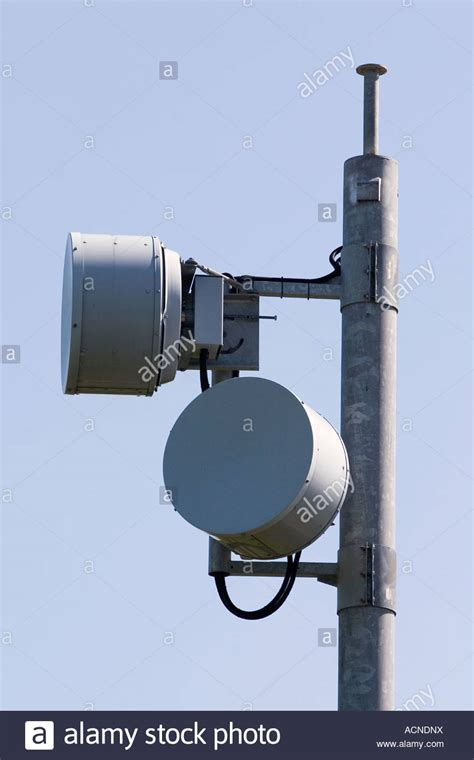 microwave radio link antenna dish stock photo