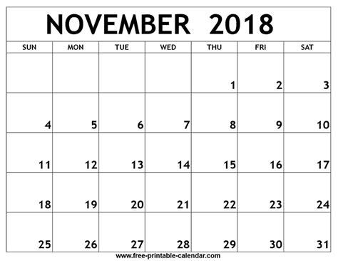 printable calendar november 2018 november 2018 printable calendar free printable
