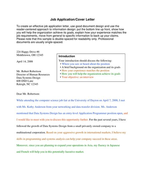 job application letter examples examples